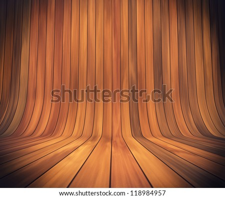 An empty room with continuous wood from wall to floor - stock photo