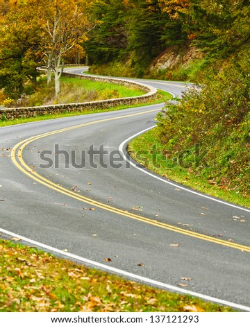 An empty S-Curved road on skyline drive. - stock photo