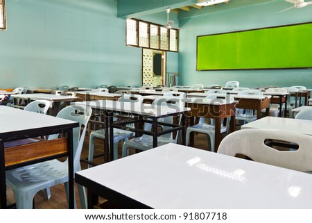An empty schoolroom in secondary school, Thailand - stock photo