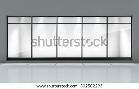 An empty shop front window display in a generic setting - stock photo