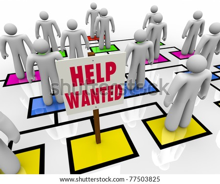 An empty square in an organizational chart with a sign reading Help Wanted, symbolizing the need for a company to hire a new employee and the desire for an unemployed person to find work - stock photo