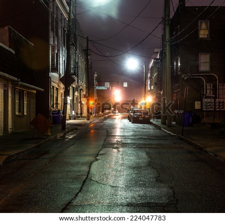 An empty steet in the evening in Lexington, Kentucky, USA - stock photo