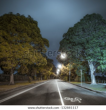 An Empty stretch of tree-lined road with a bicycle lane at night - Princes Park Drive in the Melbourne suburb of Carlton, Australia; a popular jogging strip bordering Melbourne Cemetery and parkland. - stock photo