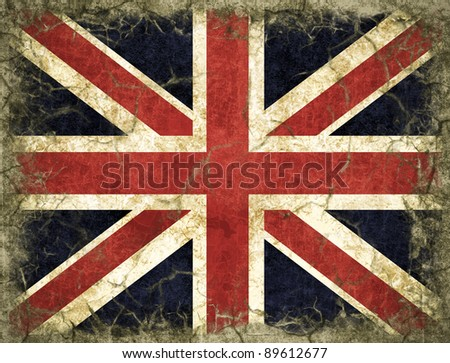 An England flag painted on old wall, The Union Jack flag - stock photo