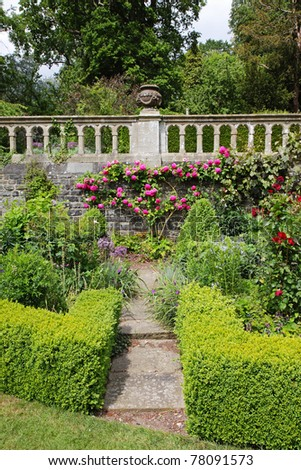 An English Landscape garden with box hedging and stone wall covered in roses - stock photo