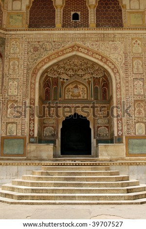 An entrance to a temple in Amber Fort complex, Rajasthan, India - stock photo