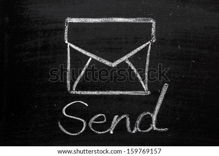 An envelope and the word Send on a blackboard. A concept image for communication in paper or electronic form. - stock photo