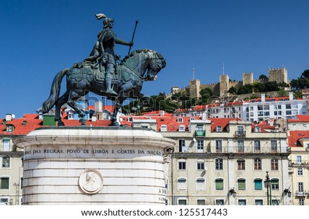 An equestrian statue of Dom Joao I, also known as John I of Portugal, is located in Figueira Square (or Praca da Figueira) in Lisbon, Portugal. - stock photo