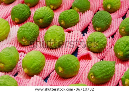 An Etrog (yellow citron) is on display at a four species market for the Jewish holiday of Sukkot. The Four Species are waved together along with special blessings during Sukkot. - stock photo