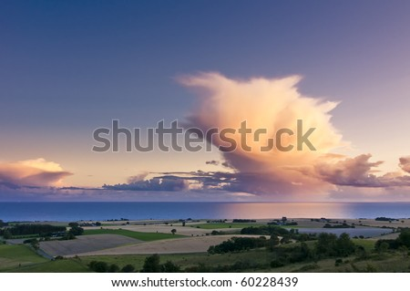 An Evening at the coast of the island Moen, Denmark. - stock photo