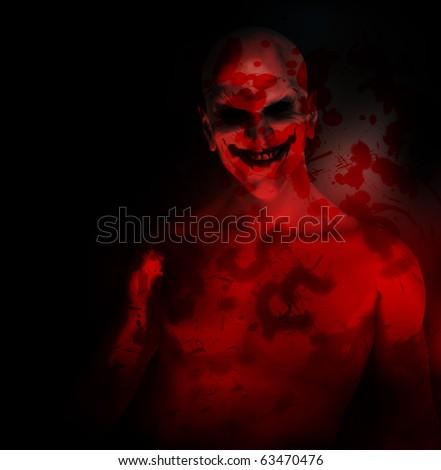 An evil psychotic clown - stock photo