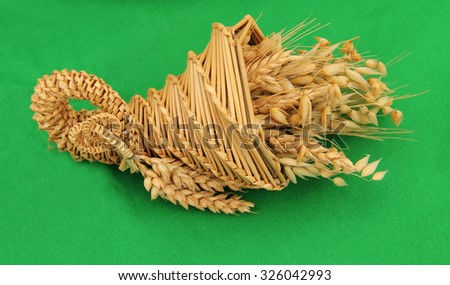 An Example of Wheat Weaving and Straw Craft. - stock photo