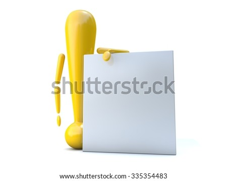 An exclamation mark on a white background - stock photo