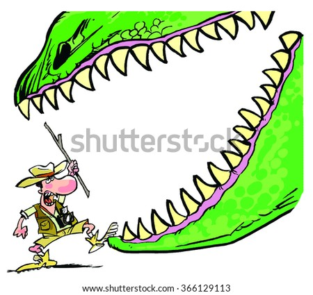 An explorer, a big dinosaur jaw and a white space for text in a cartoon style. - stock photo