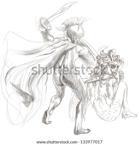 An hand-drawn illustrations in ancient Greek myths and legends: PERSEUS and MEDUSA. Medusa in most versions of the story, she was beheaded by the hero Perseus. /// Full sized hand drawing. - stock photo