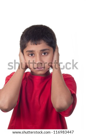 An handsome indian kid not willing to hear - stock photo