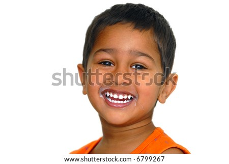 An handsome kid happy after drinking milk - stock photo