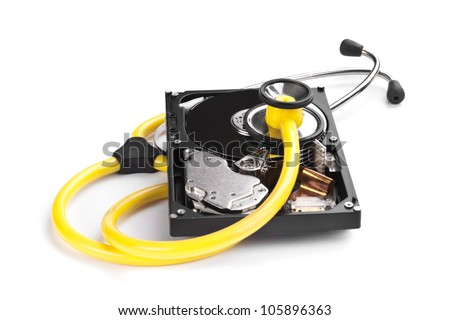 An hard disk with a sthetoscope isolated on white background - stock photo
