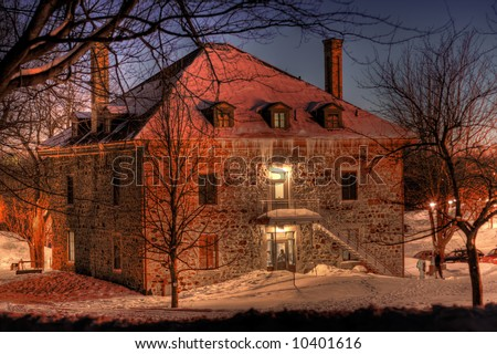 An HDR night image of Smith House on Montreal's Mont Royal - stock photo