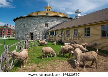 An historical 18th century round barn, Hancock Shaker Village, Massachusetts, USA - stock photo