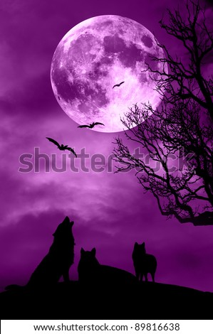 an horror night with wolves, bats and full moon - stock photo