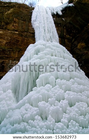 An ice fall in Tonty Canyon at Starved Rock State Park, Utica, Illinois. - stock photo