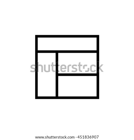 An Icon Illustration Isolated on a Background - Web Wireframe 4 Way Split - stock photo