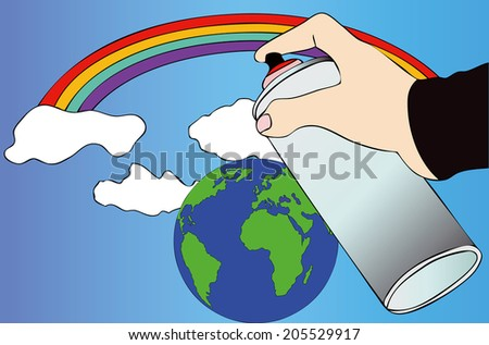 An idea of the world - Symbolic image of a possible idea of a better world  - stock photo