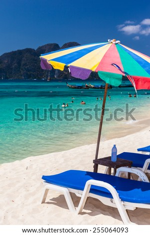an idyllic tropical beach in the andaman sea - stock photo