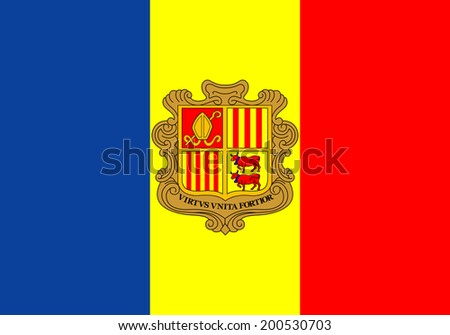 An Illustrated Drawing of the flag of Andorra - stock photo