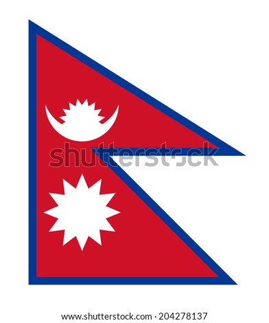 An Illustrated Drawing of the flag of Nepal - stock photo