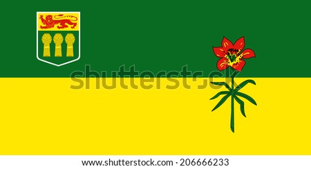 An Illustrated Drawing of the flag of Saskatchewan - stock photo