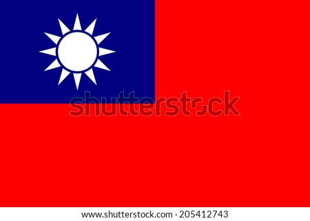 An Illustrated Drawing of the flag of Taiwan   - stock photo