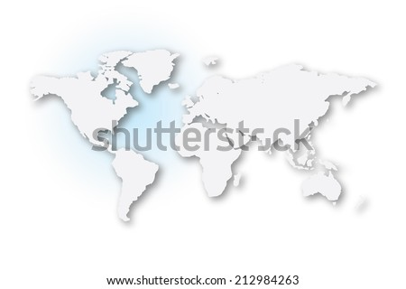 An Illustrated map of the world with all continents - stock photo
