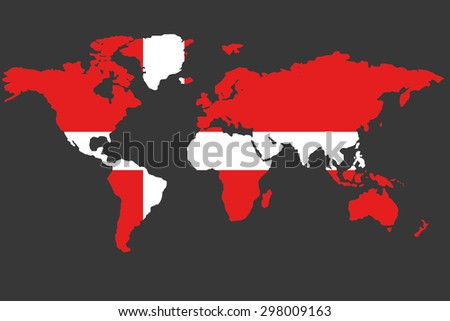 An Illustrated Map of the world with the flag of Denmark - stock photo