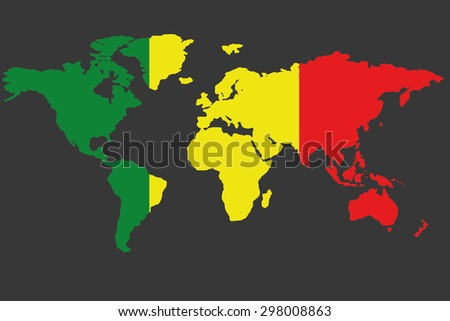 An Illustrated Map of the world with the flag of Mali - stock photo