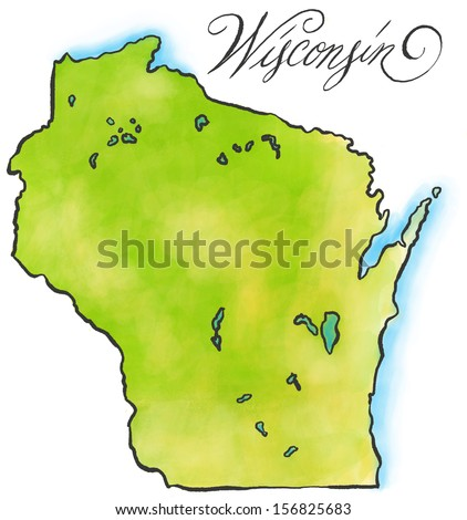 An illustrated map of Wisconsin. - stock photo