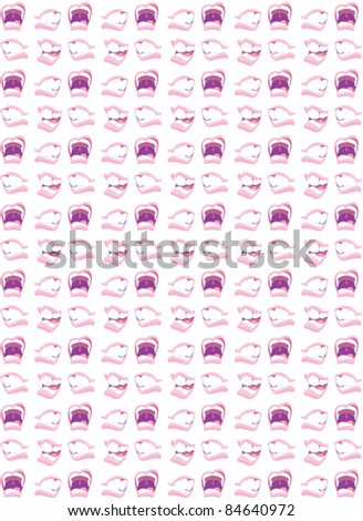 An illustrated pattern of mouths engaged in communication. - stock photo