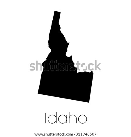An Illustrated Shape of the State of Idaho - stock photo