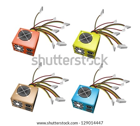 An Illustration Collection of Colorful Computer Power Supply Box in Orange, Green, Brown and Blue Colors - stock photo