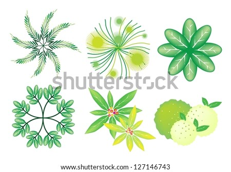 An Illustration Collection of Landscaping Treetop Symbols or Isometric Trees and Plants for Garden Decoration - stock photo
