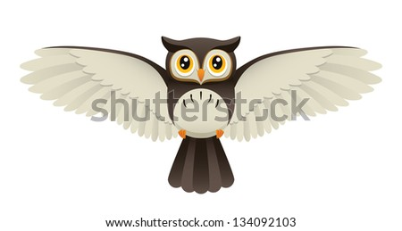 An Illustration depicting a cute owl flying. Raster. - stock photo