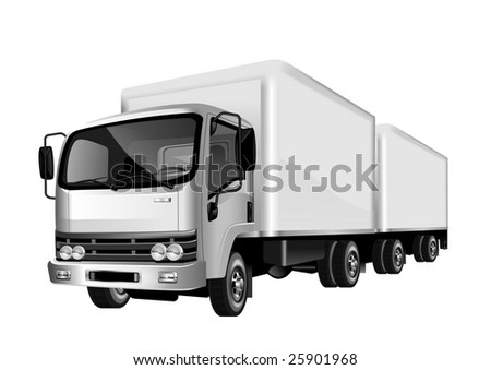 An Illustration heavy cargo truck on white background - stock photo
