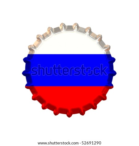 An illustration of a bottle cap with a country sign Russia - stock photo