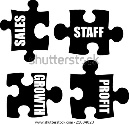 An illustration of a business metaphor showing puzzle pieces - stock photo