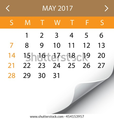 An Illustration of a 2017 Calendar - May - stock photo