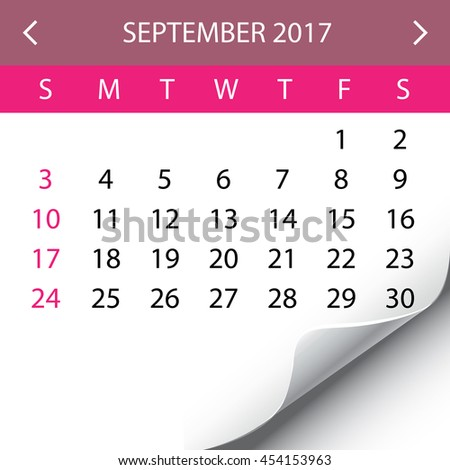 An Illustration of a 2017 Calendar - September - stock photo