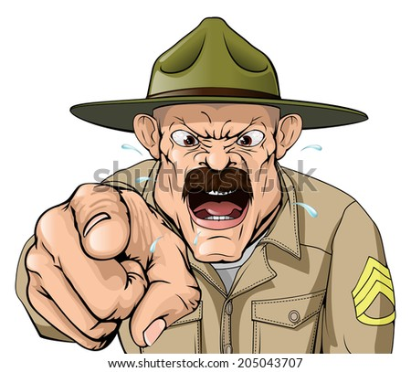 An illustration of a cartoon angry boot camp drill sergeant character - stock photo