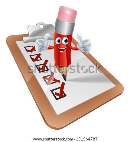 An illustration of a cartoon pencil character writing on a survey clipboard - stock photo