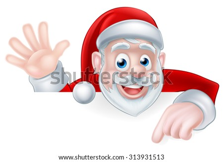 An illustration of a cartoon Santa claus waving and pointing while peeking over a sign - stock photo
